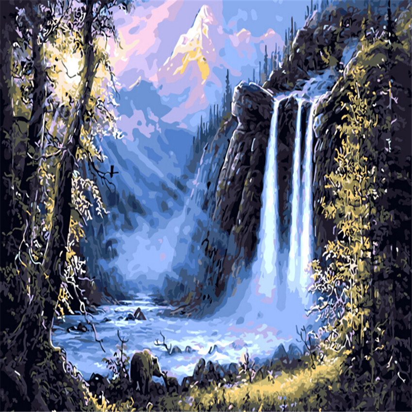 forest waterfall oil painting by numbers diy abstract