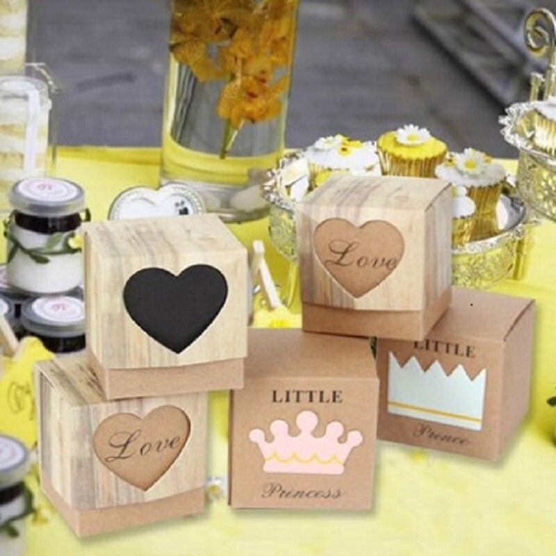 10pcs Wedding Candy Box Romantic Heart Kraft Gift Bag With Burlap