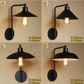 American Wall lamp Loft vintage Balcony Iron Wall Lamp with Paint lampshade for Home Bedroom Black 110V/220V E27 Free shipping