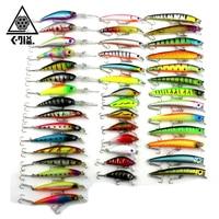 43 Pcs/Pack 6 Style Minnow Fishing Lure 3D Fish Eye Minnow Hard Plastic Fishing Wobbler Artificial Bait Fishing Accessories