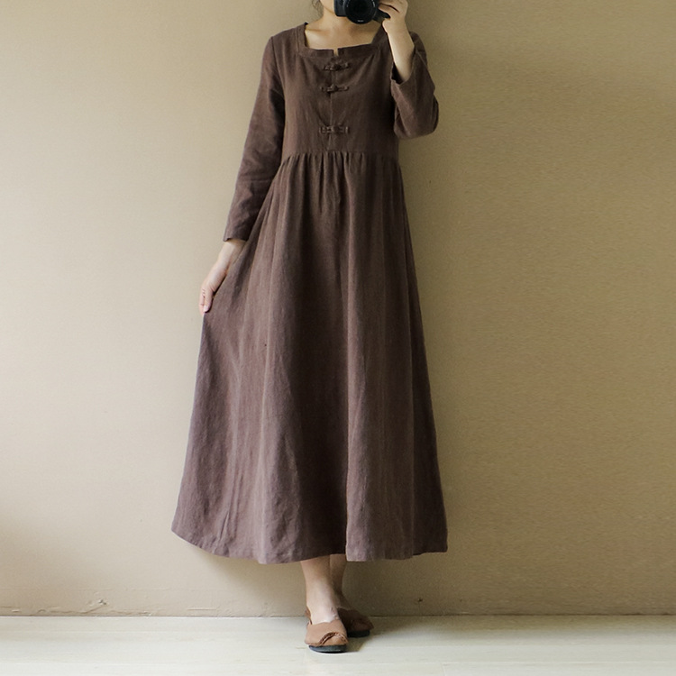 Spring New Original Cotton Linen Dress Long Literary Short Sleeve Solid Color Plate Buckle Dresses