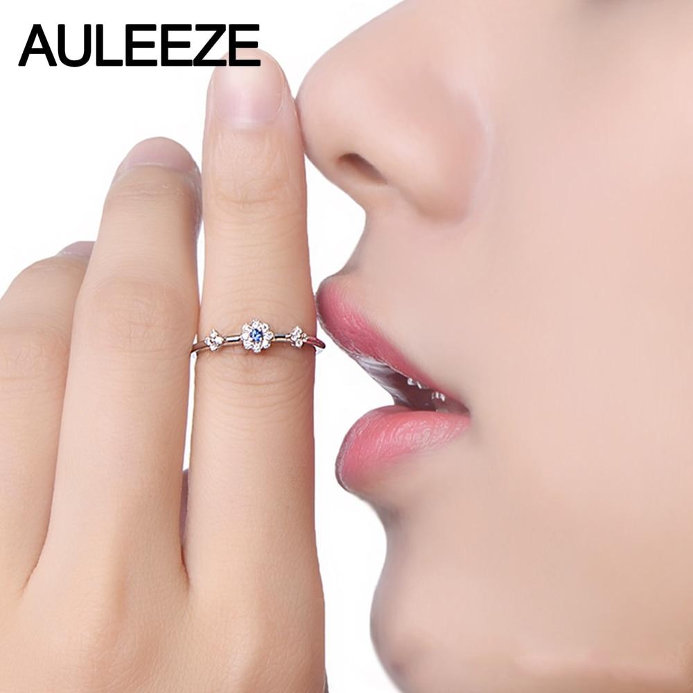 0.05CT Natural Sapphire Engagement Ring Flower Design 18K White Gold ...