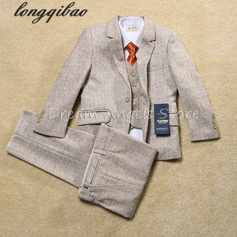 Quality fashion baby kids boys children blazers suits boys suits for weddings formal Light color wedding suit flower boy dress