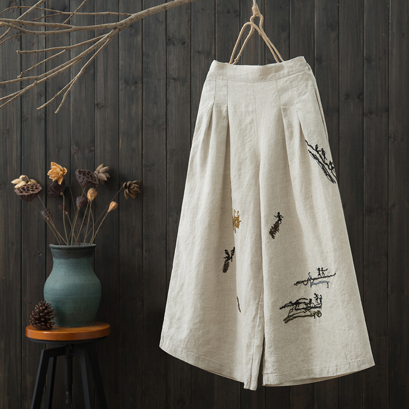 2019 spring new cotton and linen wide leg pants embroidery literary fan wide leg pants wild temperament casual trousers female
