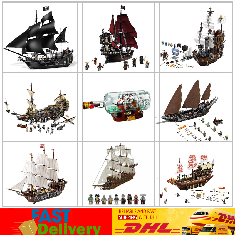 Lepin Ship 16006 Black Pearl Ship 16009 Queen Anne's Revenge Ghost Pirate Ship 22001 Warships Blocks Bricks Building LegoINGlys