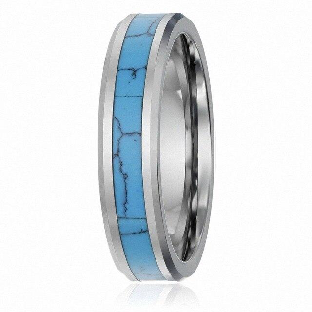 6mm Fashion Ring Tungsten Carbide Ring Turquoise Inlay Men S Women S