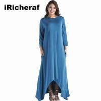 IRicheraf Womens Elegant Vintage Long Loose Dress Casual Three Quarter Sleeve O Neck A Line Fall