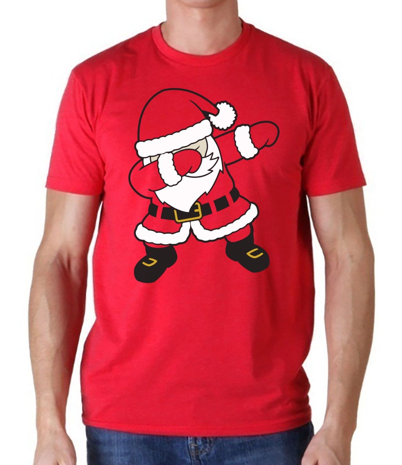 Mens Boys Dabbing Santa Claus Christmas T Shirt Unisex Red Tee Shirt custom printed tshirt, hip hop funny tee, mens tee shirts