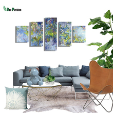 5 Pieces Painting Print Modern Decorative Canvas Abstract Hand Modular Pictures Large Wall For Living