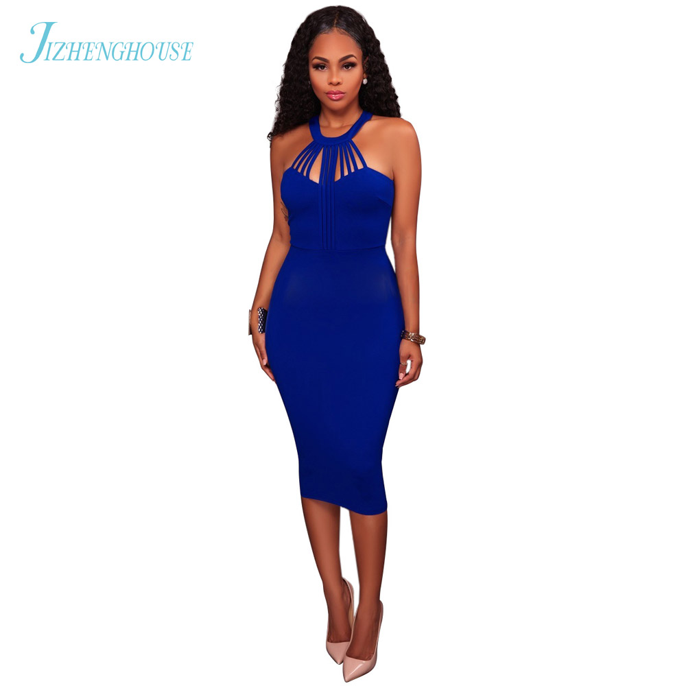 JIZHENGHOUSE Sexy Women Dress Off Shoulder Sexy Hollow Bodycon Dresses Halter Summer Party Casual Dress