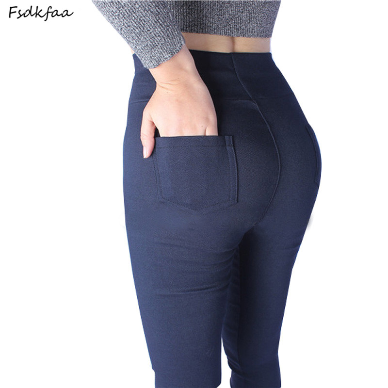 FSDKFAA 2018 New High Stretch Women Pants Cotton Ladies Pencil Pants High Waist Trousers Pantalon Femme Plus Size XL-5XL