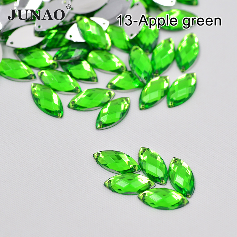 JUNAO 7*15mm Green Crystal Sew On Horse Eye Rhinestones Acrylic Gems Sewing Flat Back Strass AB Scrapbook Beads for DIY Clothes