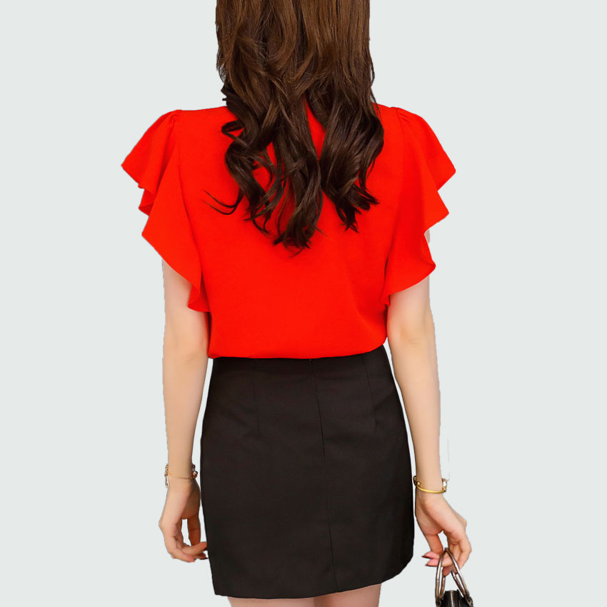 c6b5fe3157bf4d Summer Chiffon Blouse Butterfly Sleeve 2018 New Red   Pink Korean Sexy V  neck Women Shirts Ladies Office Tops Female Clothing-in Blouses   Shirts  from ...