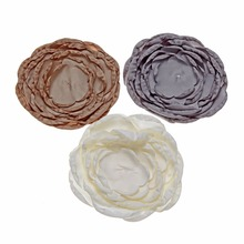 100pcs/lot 4.3inches Layered Stain Burned DIY Satin Flowers Flat Back Hair Accessory Baby Headband Ornament