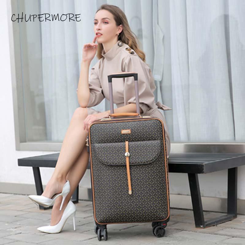 Moda międzynarodowe Retro marka zestaw walizek na kółkach Spinner kobiet o dużej pojemności walizka koła 16/20/24 cal wózek w Zestawy bagażowe od Bagaże i torby na  Grupa 2