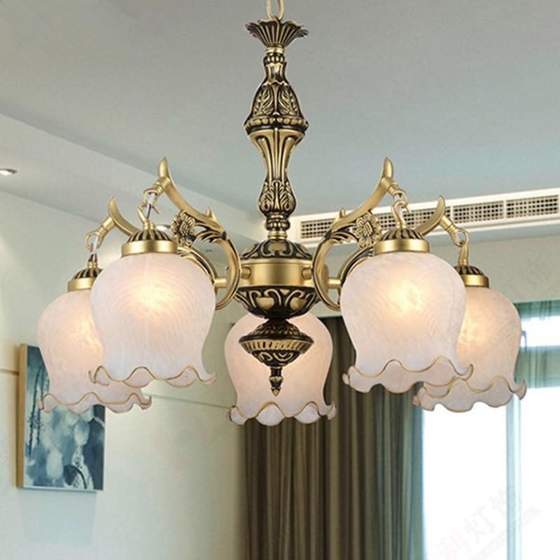 New Hot genuine zinc vintage bedroom lamp LED Chandelier lights Top novelty Indoor Lights wedding decoration kitchen light