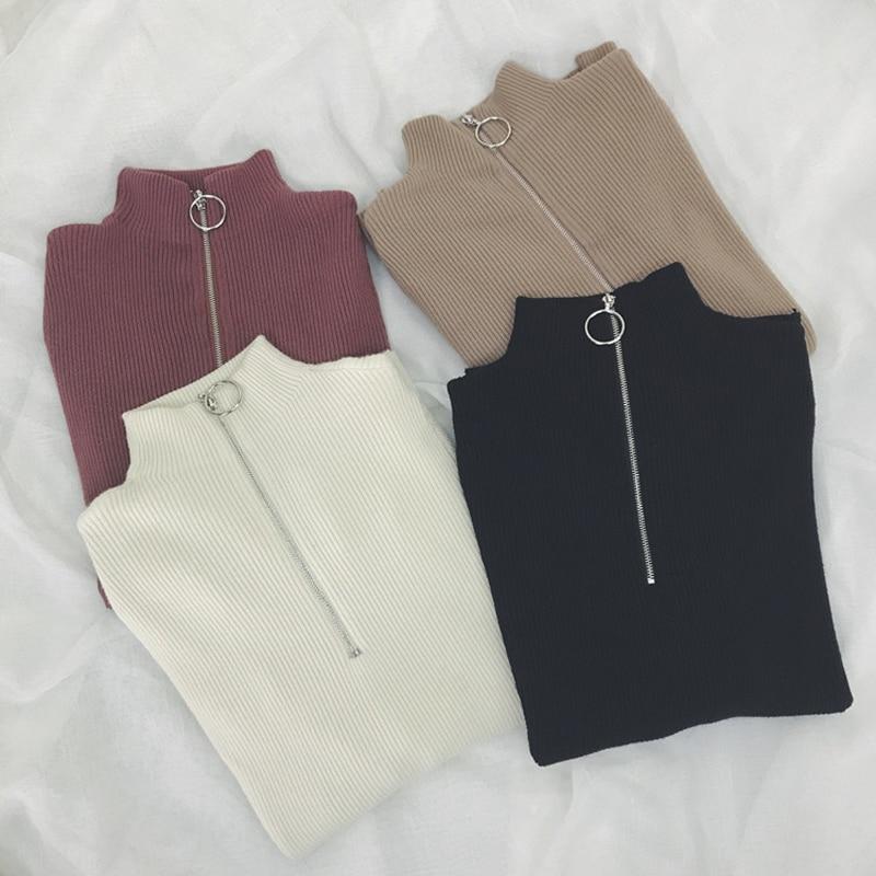 Zipper Turtleneck Solid Women Sweater Skinny Elastic Knitted Full Sleeve Pullover Female Soft Femme Christmas Jumper Quality