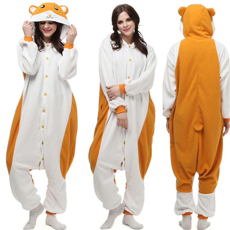 Anime Cosplay Pajamas Cute Hamtaro Hamster Kigurumi Costume Adult Sleepwear Jumpsuit Halloween Cartoon Pyjamas Christmas Gift
