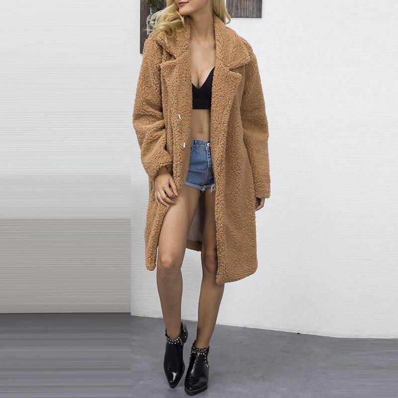 Faux Fur Wool Oversized Jacket Coat Winter Warm Lapel Long Parka Jackets Women Autumn Outerwear 2018 Fashion Female Overcoat