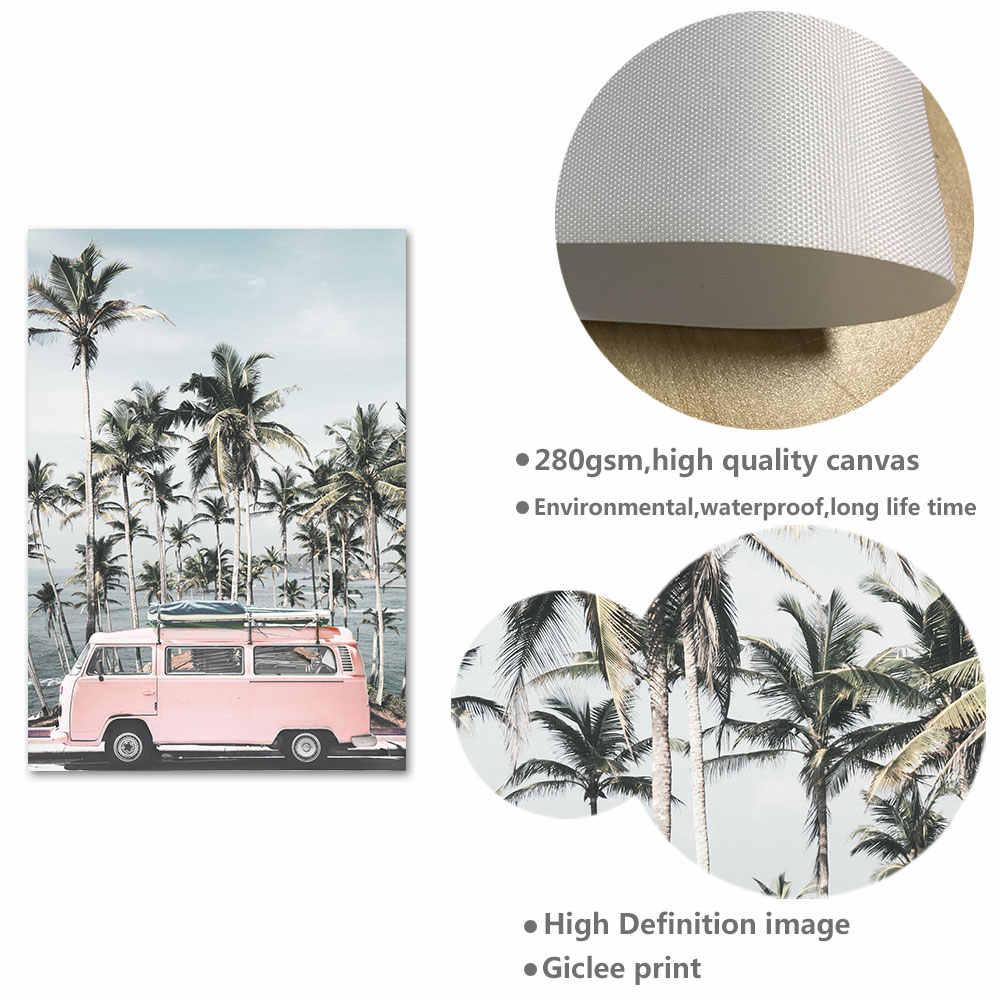 Океанский пейзаж, холст, Постер в скандинавском стиле, пляж, Розовый автобус, настенное художественное украшение, картина, скандинавский домашний декор