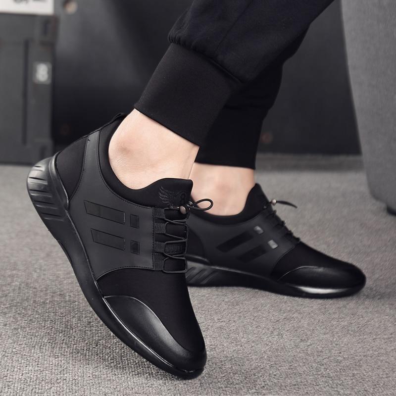 Image 5 - 2019 chaussures pour hommes qualité Lycra + vache cuir chaussures marque 6CM augmentant britannique chaussures nouveau printemps noir homme décontracté hauteur chaussures-in Chaussures décontractées homme from Chaussures on AliExpress
