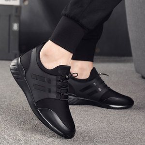 Image 5 - 2020 Mens Shoes Quality Lycra+Cow Leather Shoes Brand 6CM Increasing British Shoes New Spring Black Man Casual Height Shoes