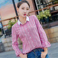2017 Autumn Spring Lady Striped Blouses Size M 2XL Flare Sleeve White Collar Patchwork Design Women