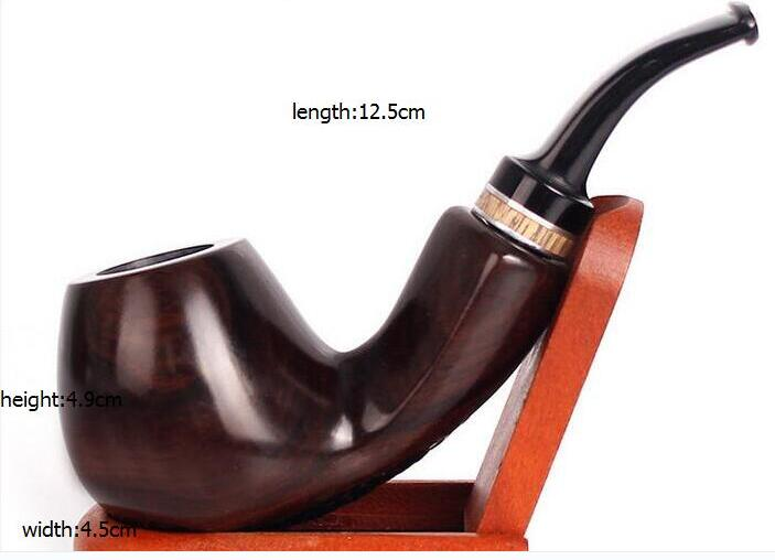 New Style Ebony Smoking Tobacco Pipe Bent Brown Color Handmade Cigarette Pipe Metal Tobacco Weed Pipe Durable Smoking Tools