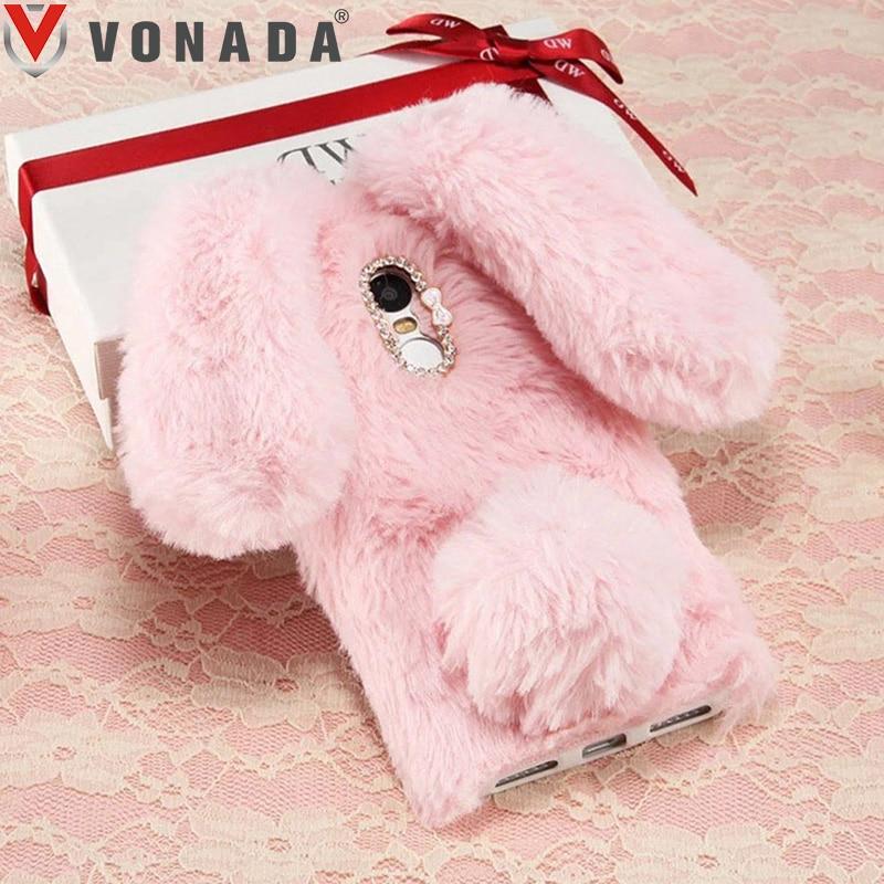 Vonada Winter Plush Ulefone Gemini Case for Ulefone S8 / S8 Pro Cute 3D Rabbit Ears Fur Cover TPU Diamond Soft Case Cover