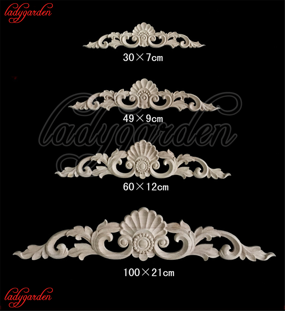 S//L Wood Carved Long Onlay Applique Furniture Decor Flower Patterns Decal Useful