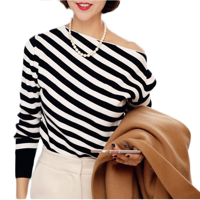 c44c07e2e6355 Women sexy one shoulder tops long sleeve slim tee shirts casual black and  white striped t shirt WH412