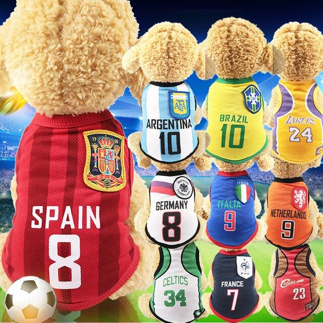 Ropa de perro pequeño mediano para perros ropa de perro chaleco camiseta ropa para mascotas ropa de verano de algodón sudadera Jersey de fútbol XS-6XL