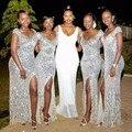 Plata de Las Lentejuelas de dama de Honor Vestidos Largos 2017 Sexy V Cuello Corto Cap Manga de Split Side Barato Invitado de Boda Vestido Africano Para partido
