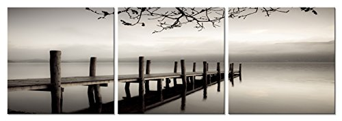 3 Panels Black And White Landscape Giclee Prints Canvas Wall Art Modern Paintings Artwork For Living