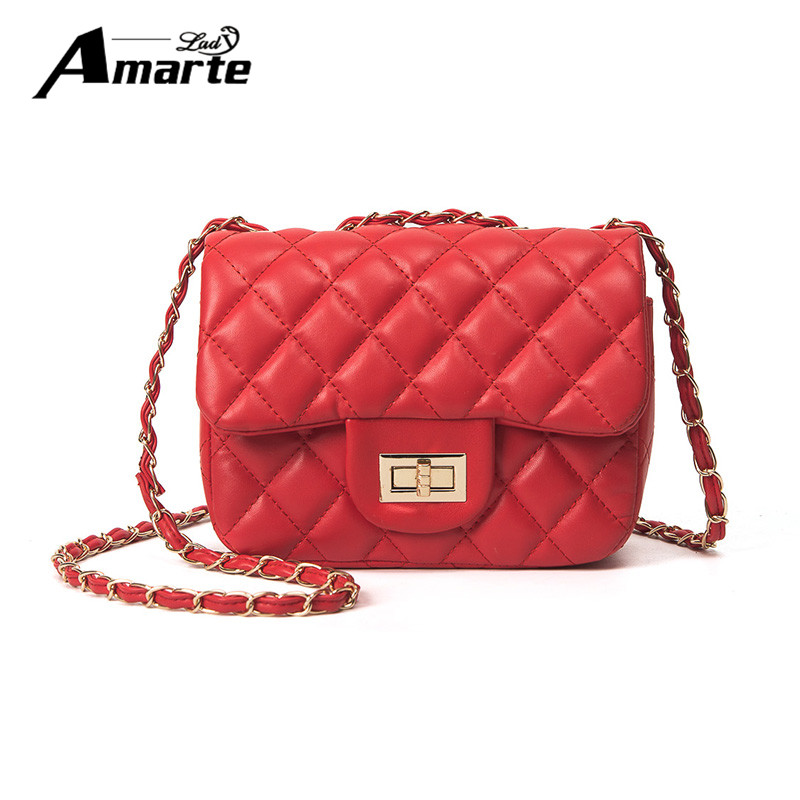 2017 New Women Shoulder Bags Luxury Brand Designer Solid Pu Leather Plaid Flap Bag Small Crossbody Bags with Chain for Girls new fashion women leather handbags 2017 luxury designer patchwork shoulder bags small crossbody bag with chain for women girls