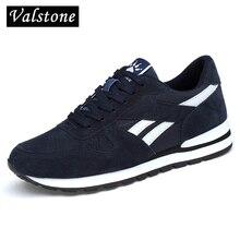 Valstone de los hombres zapatillas de deporte de cuero genuino transpirable zapatos casuales zapatos antideslizante zapatos para caminar al aire libre luz peso suela de goma de encaje-