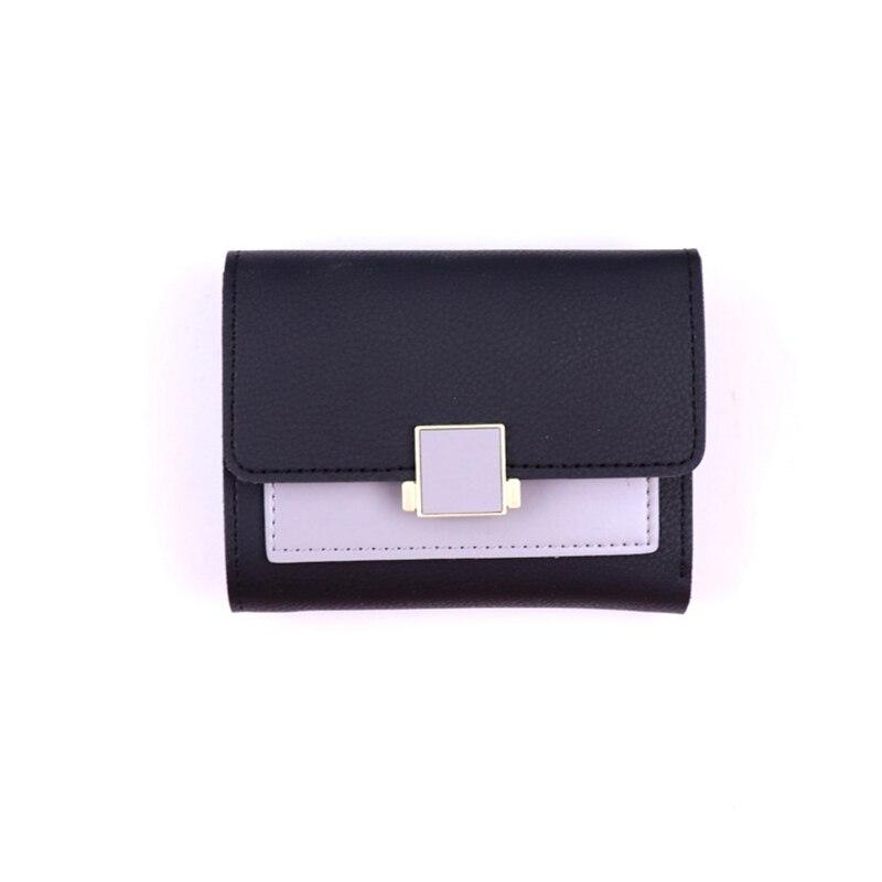ONLVAN Ny mode kvinnor kort plånbok färgblock Ms Card Slim Liten PU - Plånböcker - Foto 5