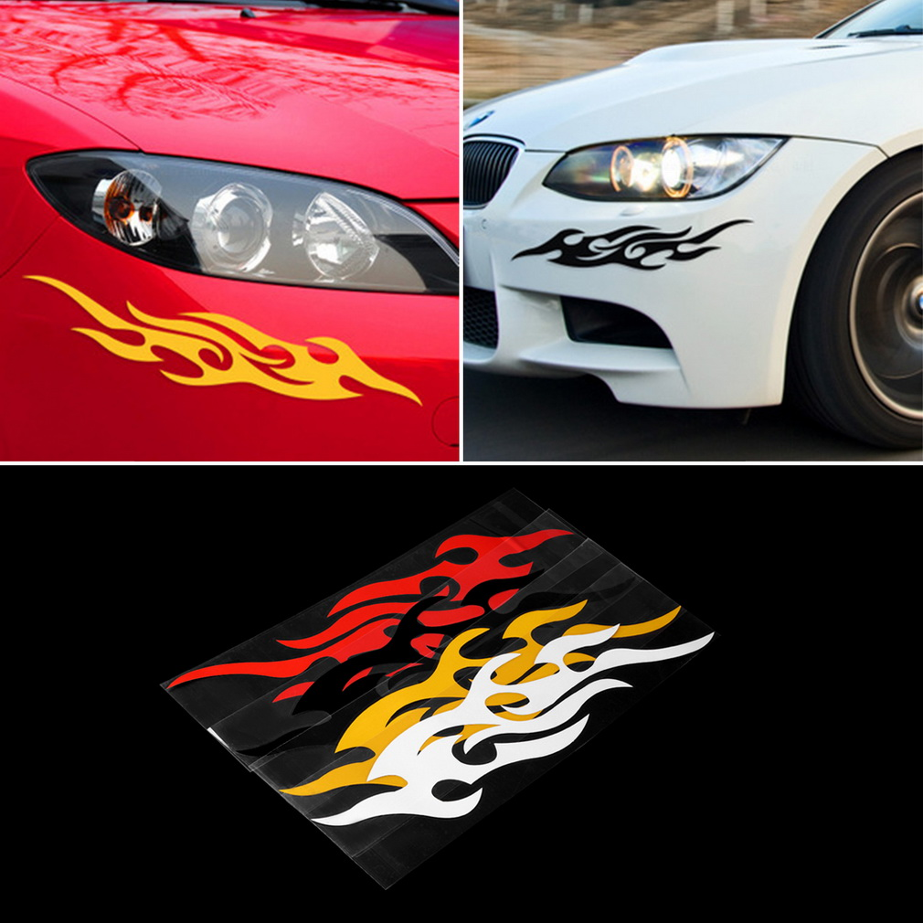 Car stickers design hd - 2pcs Universal Car Sticker Styling Engine Hood Motorcycle Decal Decor Mural Vinyl Covers Accessories Auto Flame
