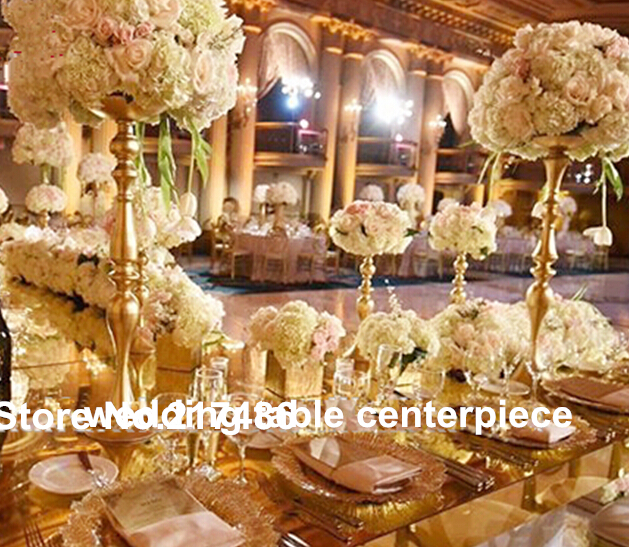 Gold Wedding Centerpiece Decorations: Wholesale(60cm Height) Gold Iron Tall Wedding Centerpieces