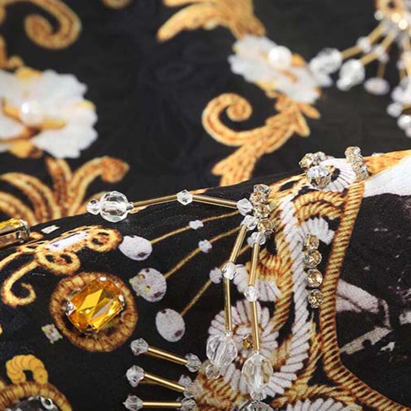 2017 Et Mini Femmes Manches neck Robe Diamant Printemps Bébé Perles Eté Élégante Mère Imprimer O Sans Vintage zxzHprg