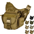 Men Nylon Shoulder Messenger Saddle Bag Military Travel Riding Water Bottle Camera Cross Body Pack