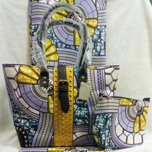 New Arrival Multi Color Wax Fabric Making HandBag African Style Woman Bag And 6Yards Wax Fabric