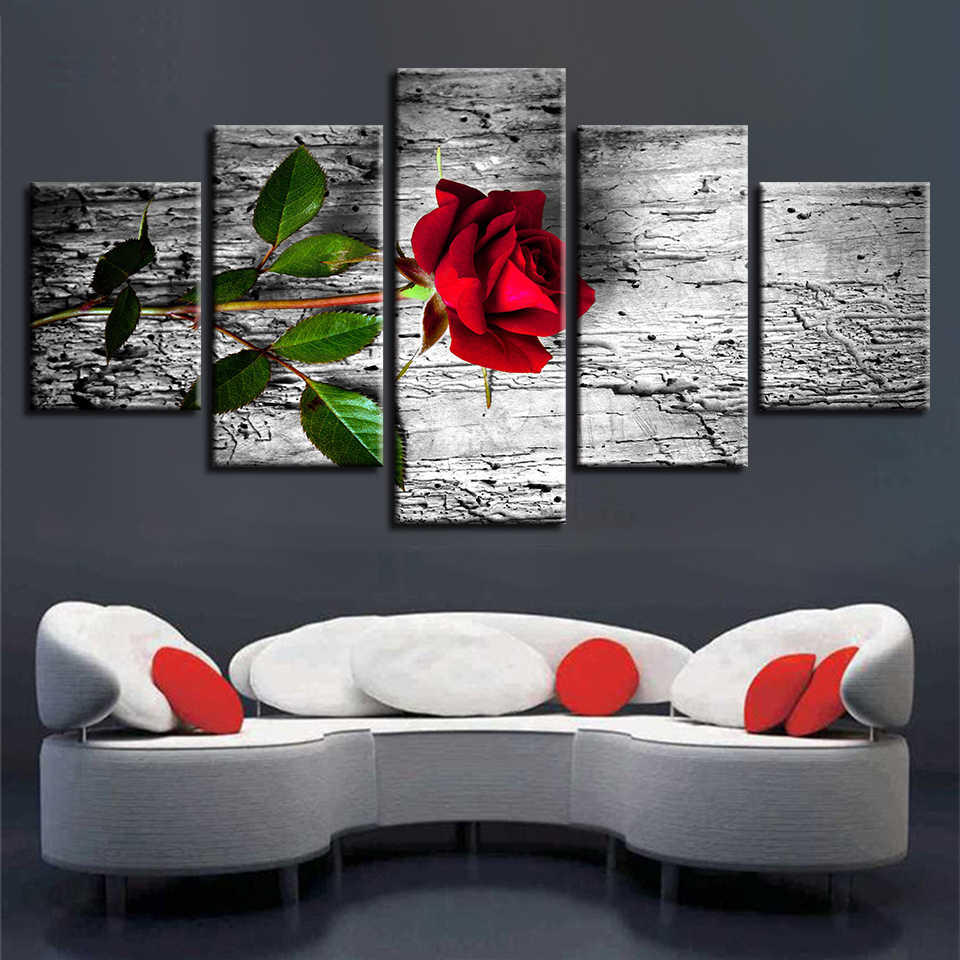 Canvas Wall Art Pictures Home Decor 5 Pieces Beautiful Stone Flowers Paintings Modular HD Prints Roses Lotus Daisy Poster Framed