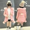 Девушки зимнее пальто 2017 детская одежда девочек одежда милый меховой воротник с капюшоном толстая куртка принцесса детская одежда 2 цветов 3-15Y