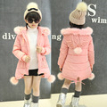 girls winter coat 2017 children clothing girls clothes cute fur collar hooded thick jacket princess kids clothes 2 colors 3-15Y