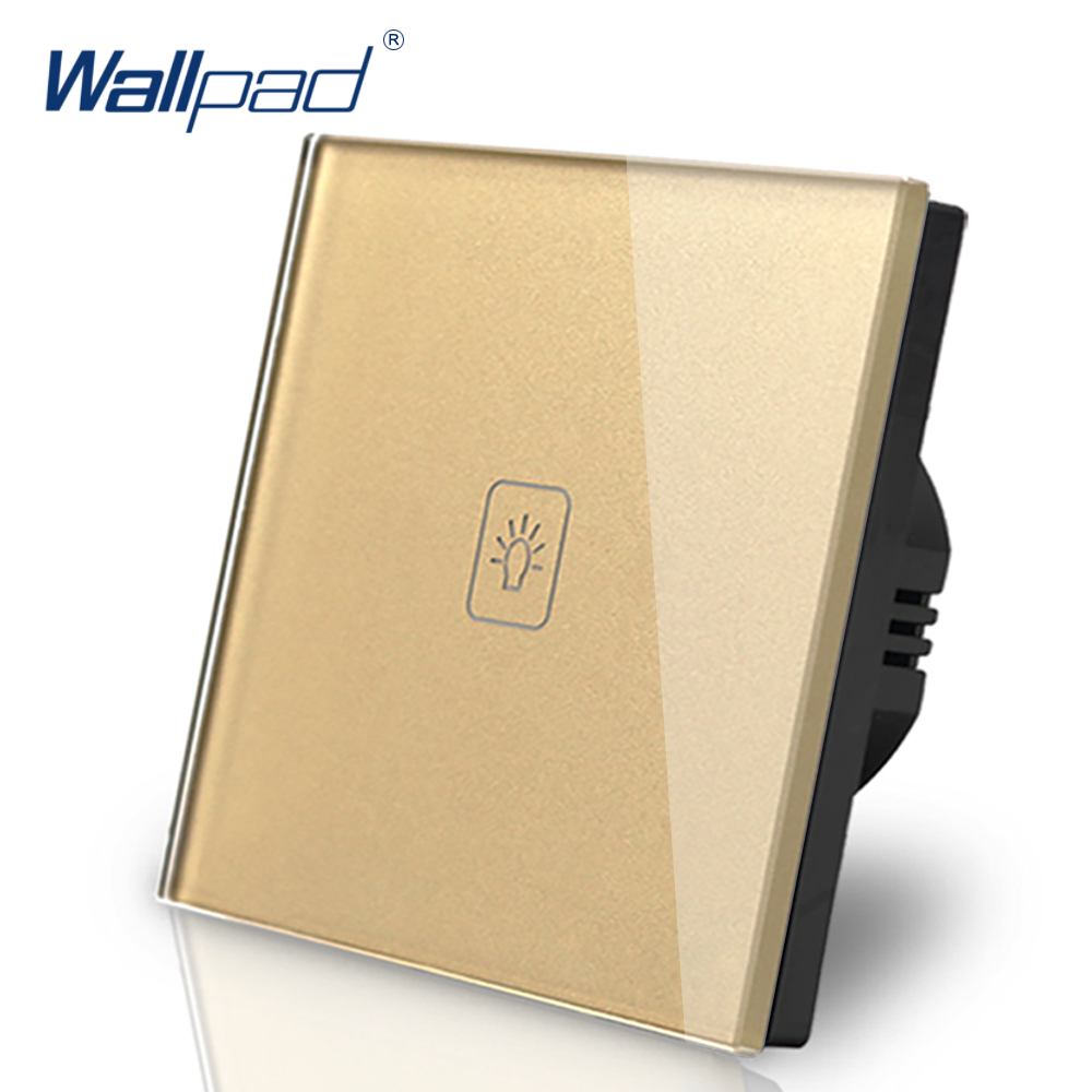 1 Gang 1 Way Switch Wallpad Luxury Gold Crystal Glass Wall Switch Touch Switch AC 110-250V European Standard kempinski wall switch 3 gang 1 way light switch champagne gold color special texture c31 sereis 110 250v popular