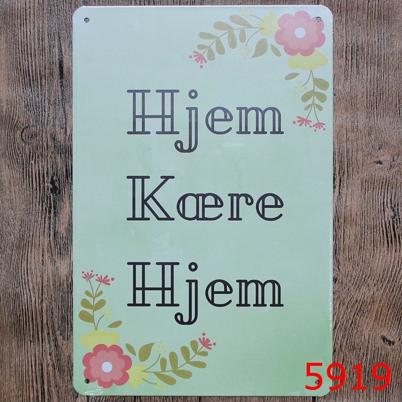 HJEM KOERE HJEM Tin Painting Board Vintage Tin Signs Painting Home Decor Bar Wall Sticker 20X30CM SHOP Decor