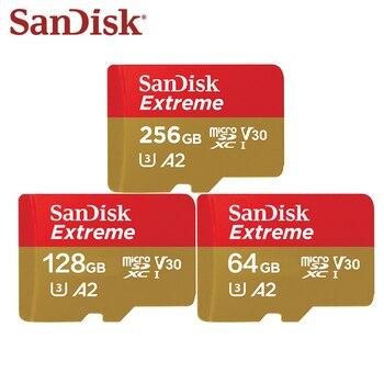 SanDisk Extreme Micro tarjeta SD U3 V30 A2 tarjeta de memoria 64GB 128GB 256GB TF tarjeta para cámara Drone cartao de memoria envío gratis