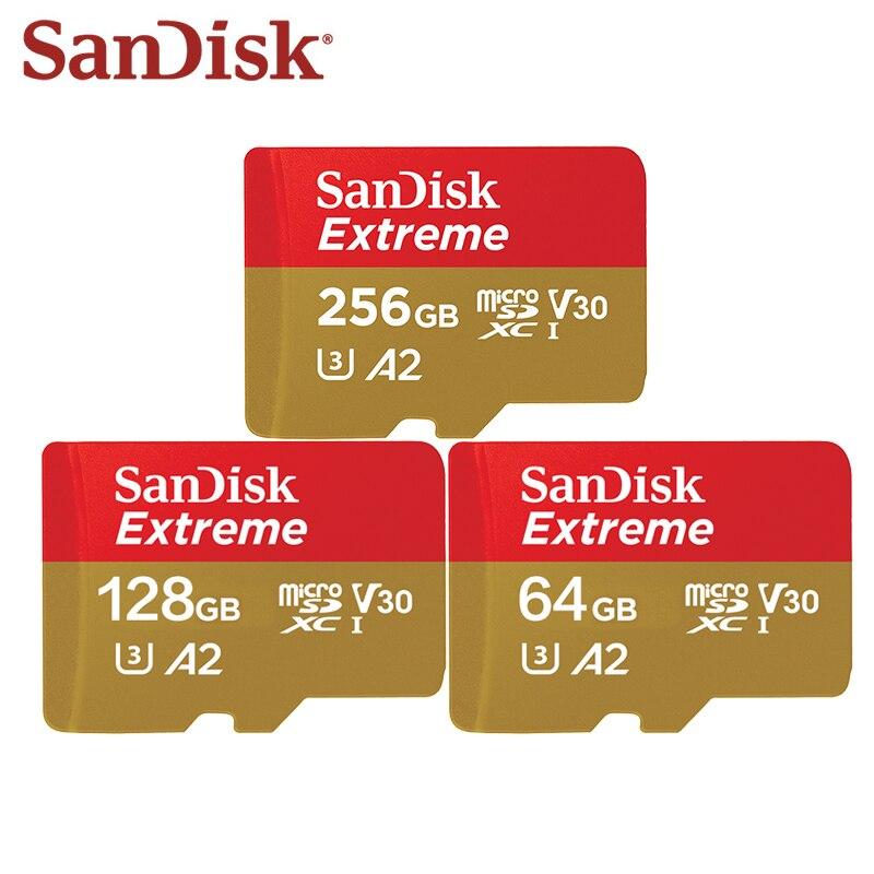 Sandisk extreme micro cartão sd u3 v30 a2 cartão de memória 64 gb 128 gb 256 gb tf cartão para câmera zangão cartao memoria frete grátis