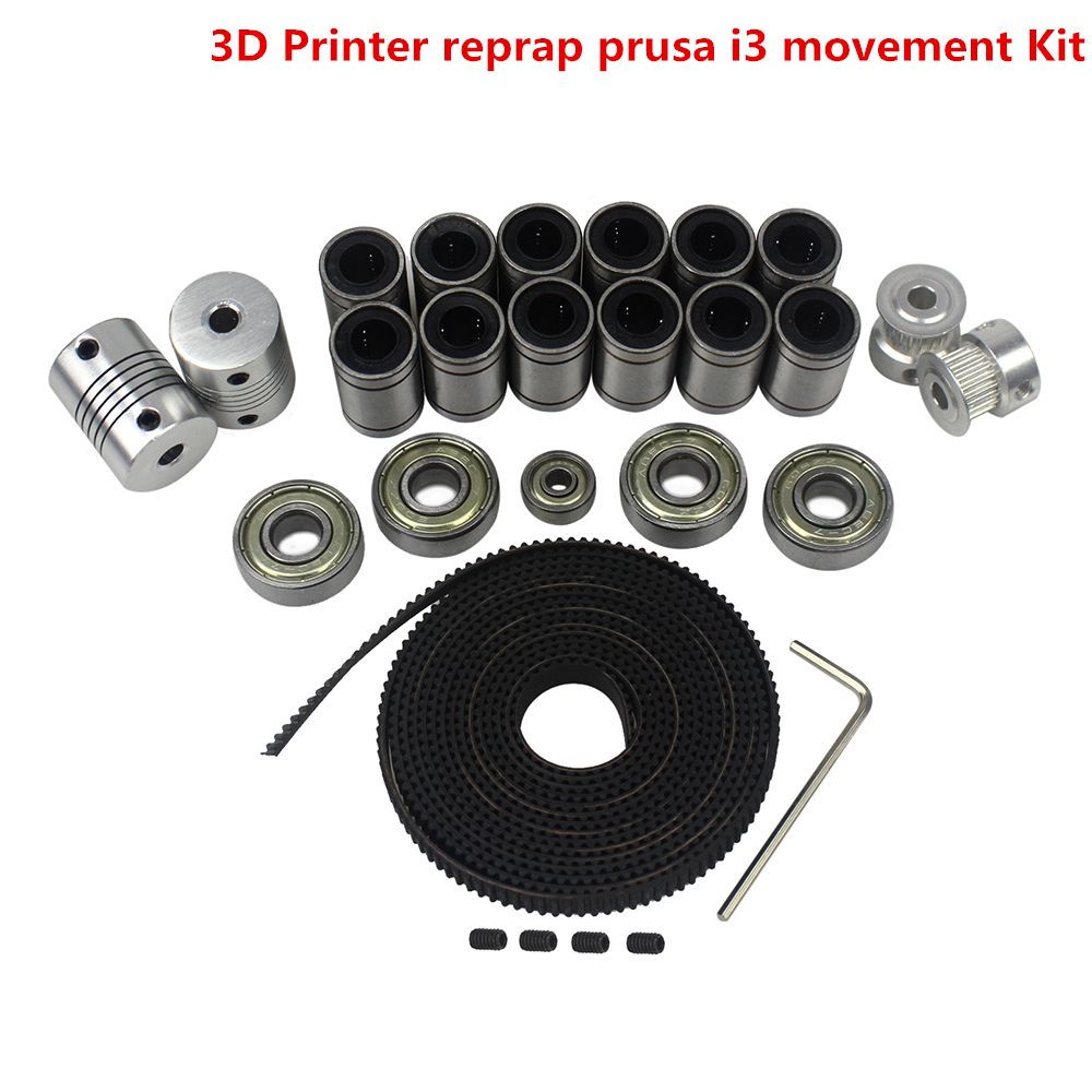 Free Shipping 3D Printer Movement Kit GT2 Belt Pulley 608zz Bearing LM8uu 624zz Bearing for Reprap wholesale 3d printer synchronous gt2 belt for reprap ultimaker other printer 1m length free shipping